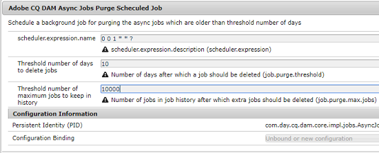 Configuration to schedule the purging of asynchronous tasks