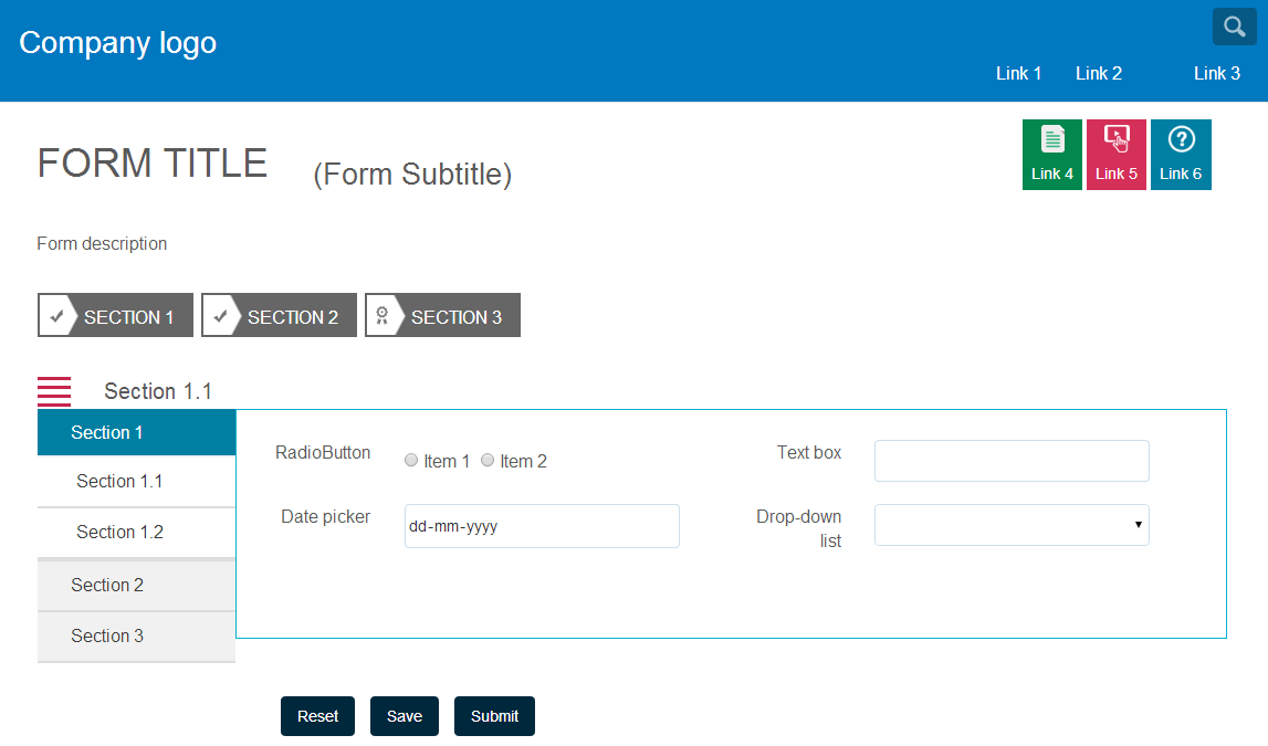 Screen shot of adaptive form, using custom panel layout
