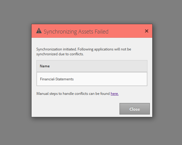 Conflicts in asset synchronization dialog box