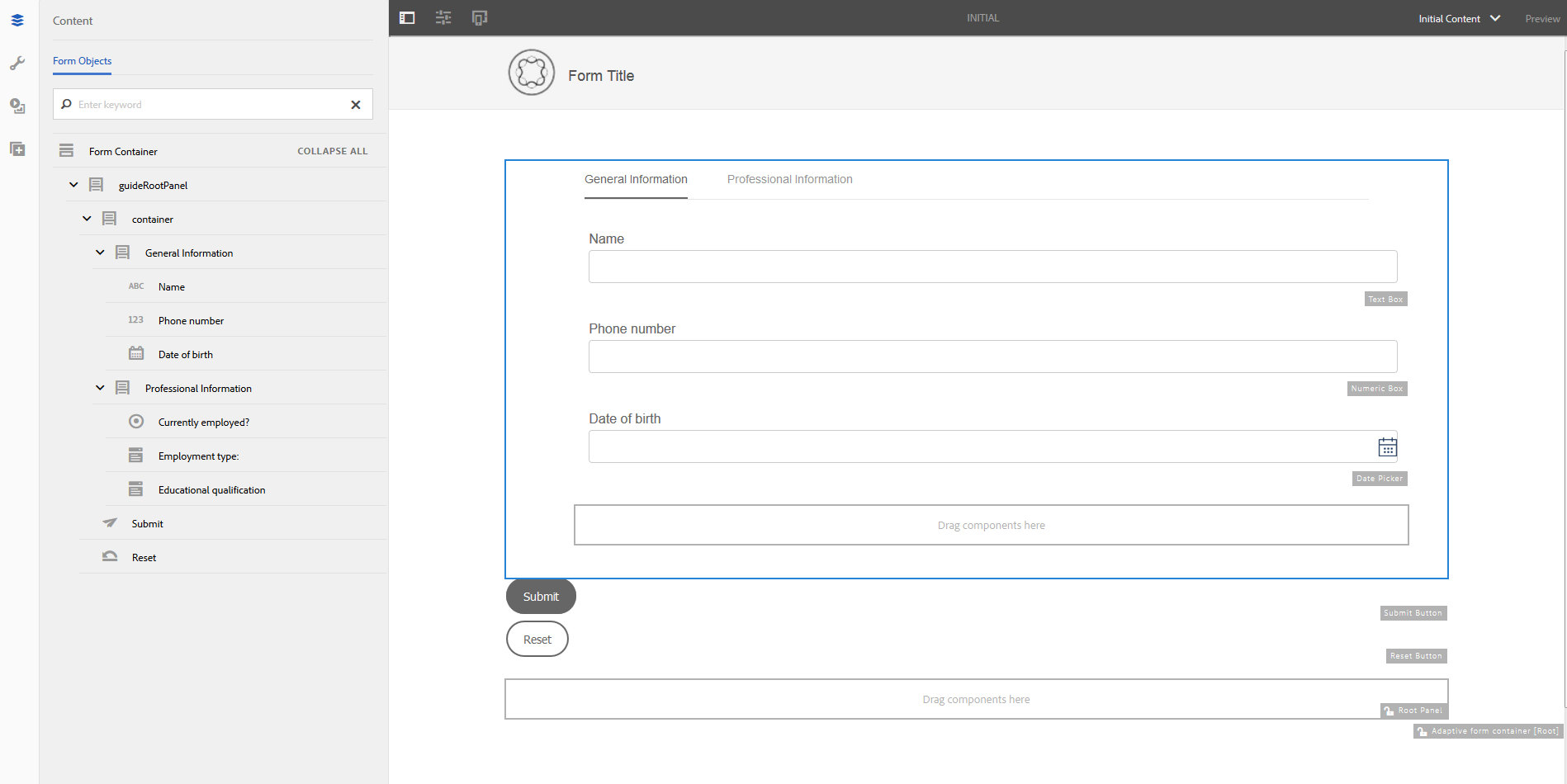 Adding fields in the adaptive form template