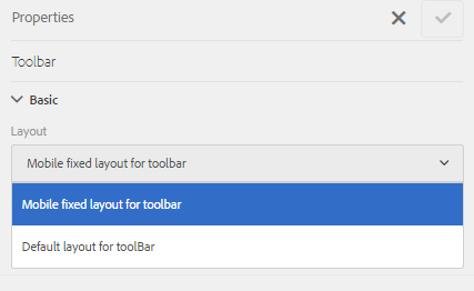 A list of Toolbar Layouts in adaptive forms to control layout of buttons