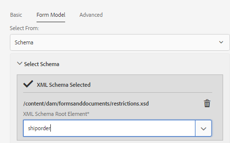Selecting XSD root element