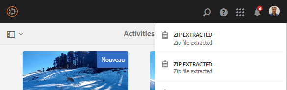 Notification de l'extraction ZIP