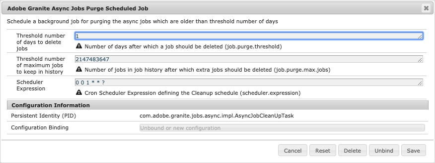 Configuration to schedule the purging of asynchronous jobs