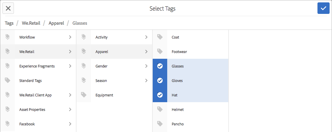 Select Tags window; use X button to deselect the currently selected tags