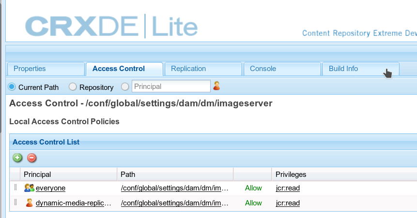 Configure Image Server in CRXDE Lite and setting the Access Control tab