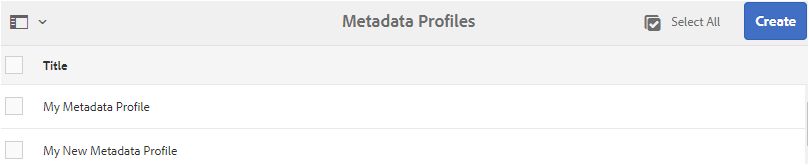 A copy of metadata profile added in Metadata Profiles page