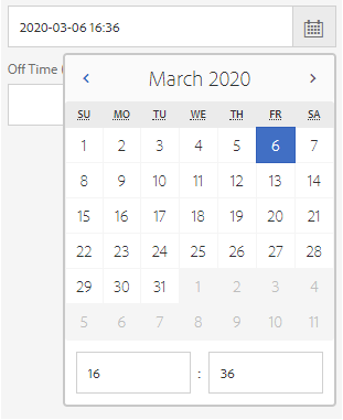 Date time picker or use keyboard keys in On Time field to add date and time for asset activation