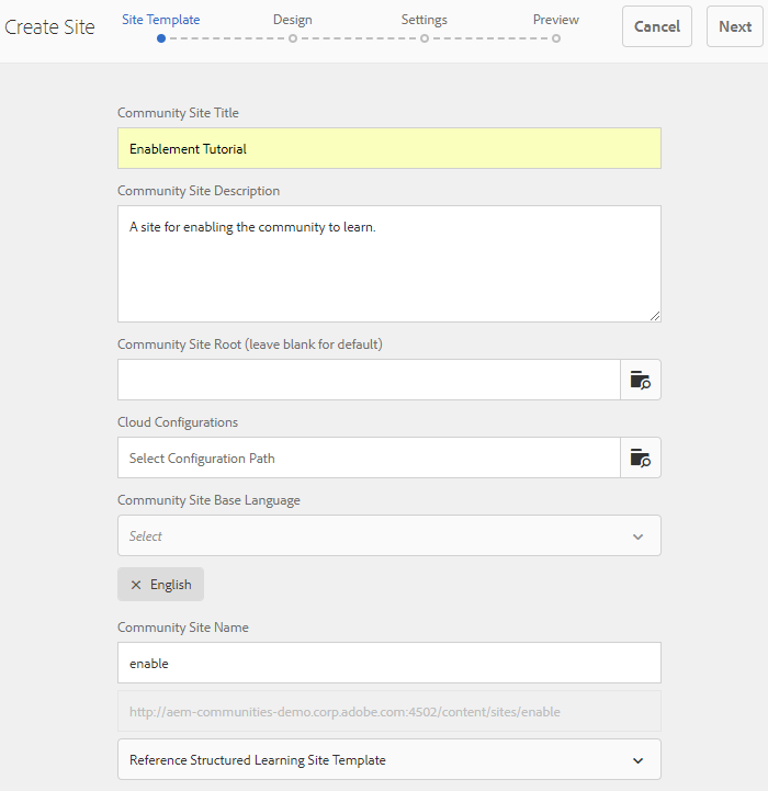 enablement site template