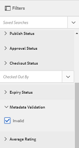 Option selected in Metadata Validation predicate of Filters panel