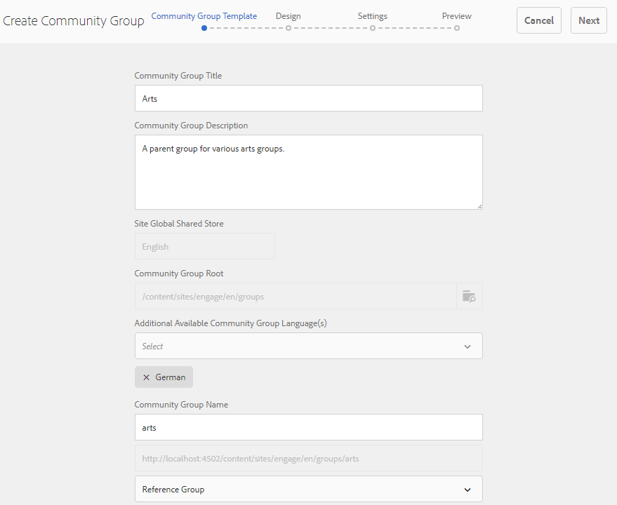 Nested community groups
