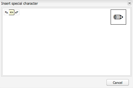 Special characters available in RTE are displayed to authors in a pop-up window