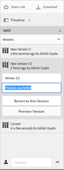 Select a version to revert to it