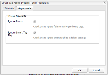 Configure DAM Update Asset workflow to add smart tag step and select ignore Smart Tag flag