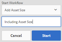 select workflow, provide a title and click start
