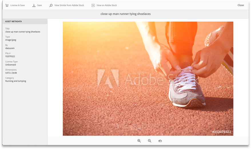 Vorschau Adobe Stock Image and license from in Experience Manager Assets