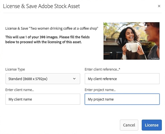 Dialog to license and save Adobe Stock assets in Experience Manager Assets