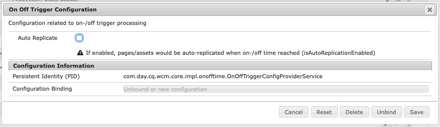 OSGi On Off Trigger Configuration
