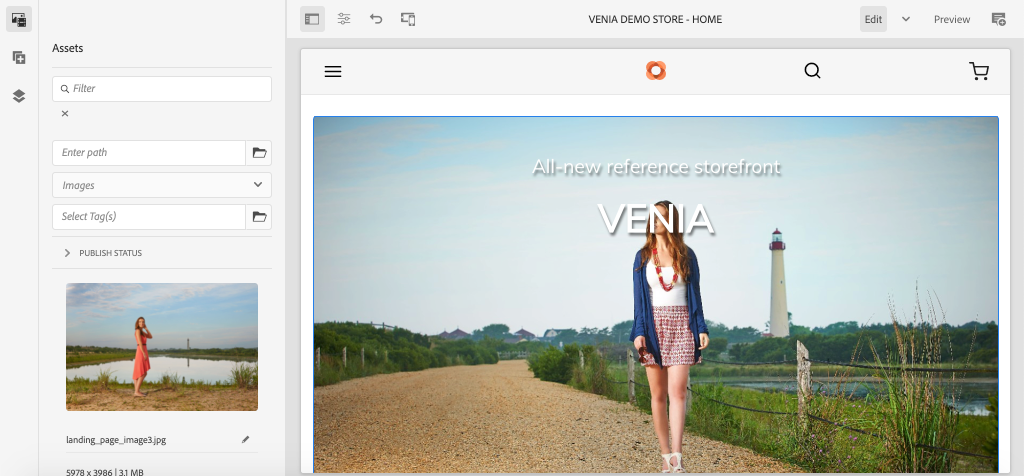 Storefront Configured with Venia Theme