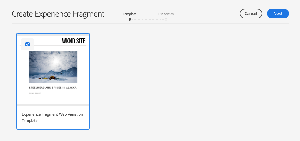 Selecting an Experience Fragment template