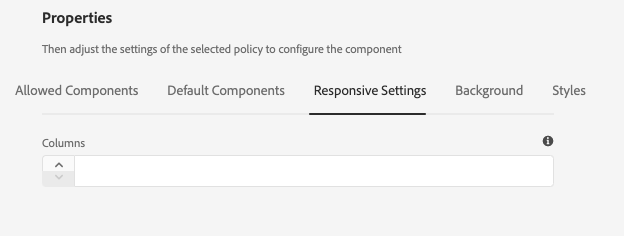 Responsive settings tab of the design dialog of the Container Component