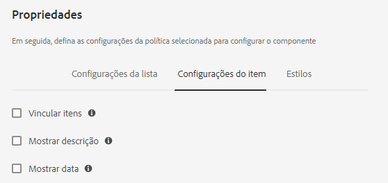 Listar configurações do item de diálogo de design do componente