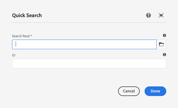 Quick Search Component's edit dialog