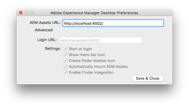 Authenticate on Mac and provide Experience Manager server URL