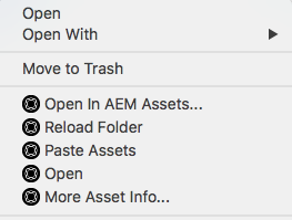 Context menu options to access and open assets using Experience Manager desktop app