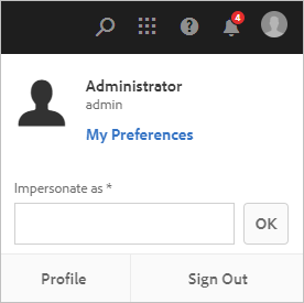 Experience Manager interface with user preferences