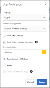 Select Show Desktop Actions For Assets to enable desktop actions