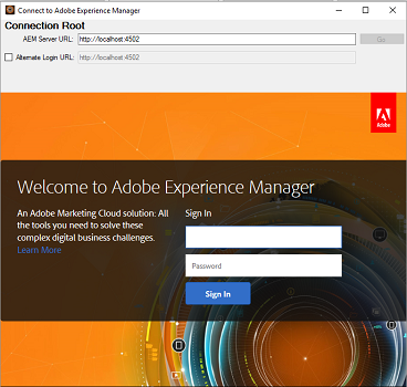 Provide Experience Manager server credentials on the login screen on Experience Manager desktop app