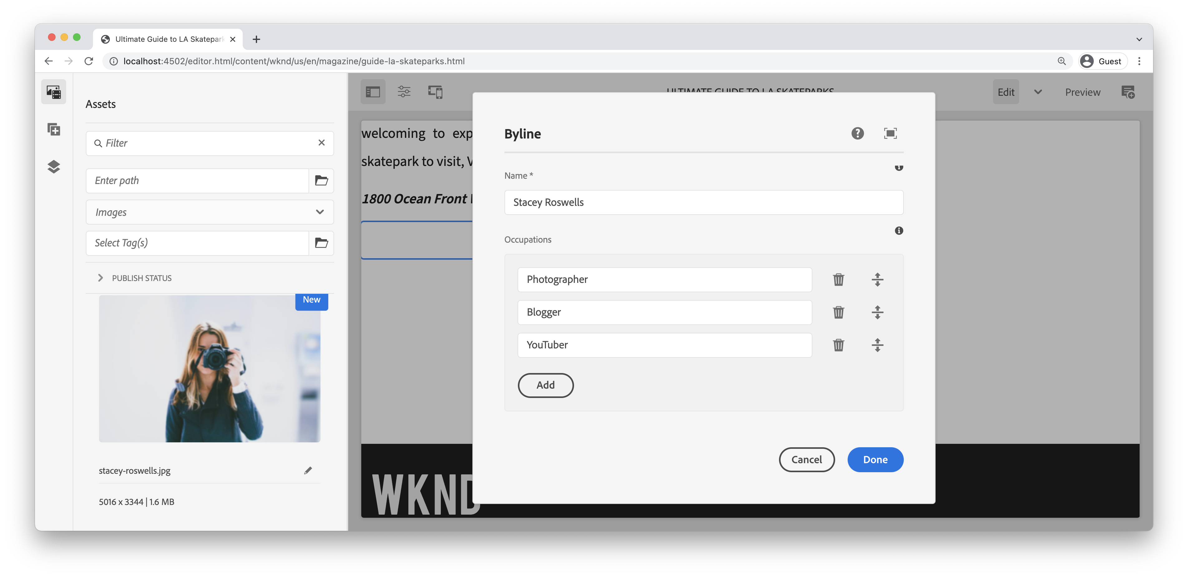 populate properties of byline component