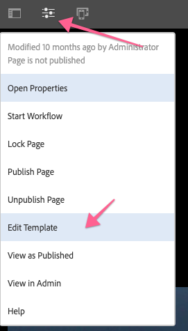 Page properties menu