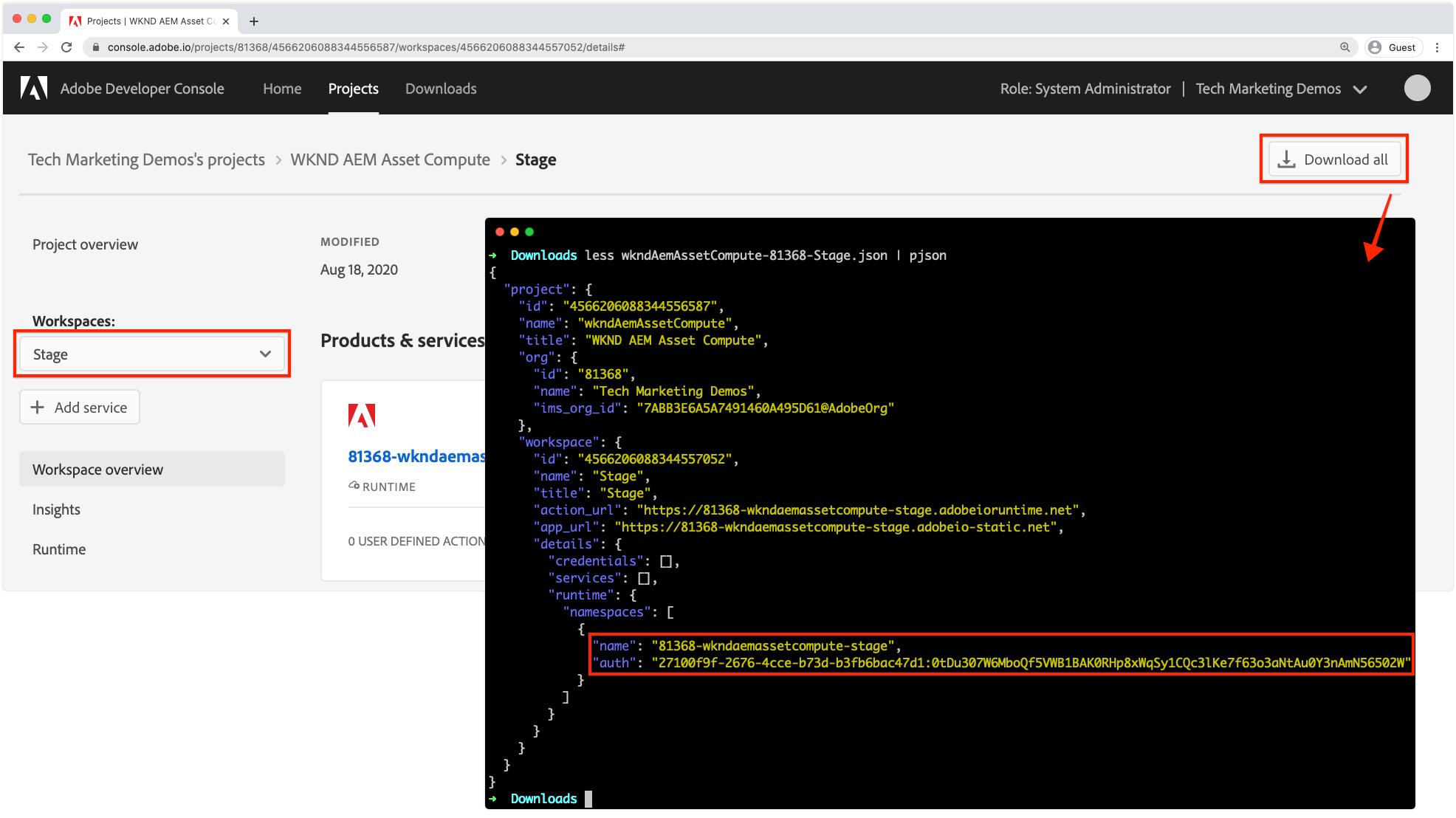 Adobe Developer Console - AIO Runtime Namespace and Auth