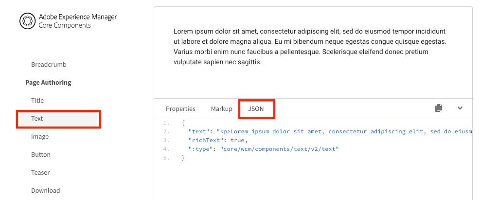Text JSON model