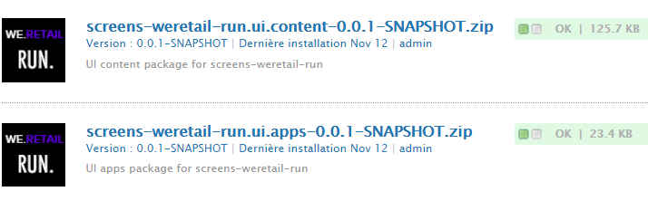 Packages Ui.Apps et Ui.Content Screens We.Retail Run installés via CRX Package Manager