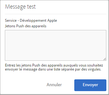 message de test push