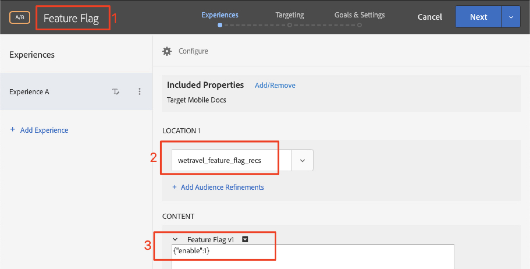 Feature Flag Activity Config
