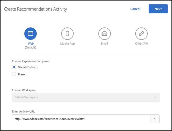 Create Recommendations Activity dialog box