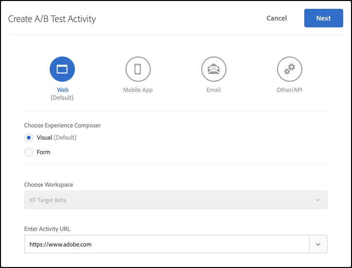 Create A/B Test Activity