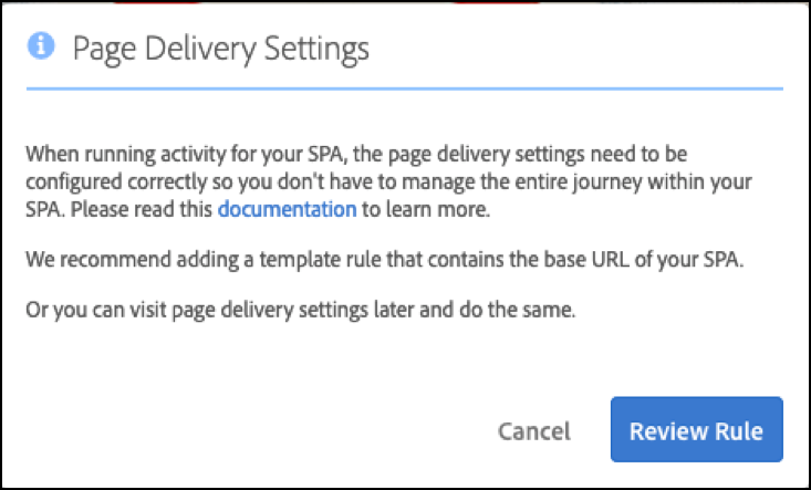 Page Delivery Settings message